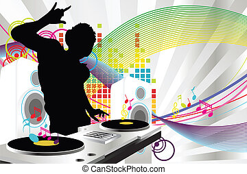 DJ music - A vector illustration of a music DJ playing music
