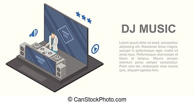 Dj music concert concept banner, isometric style