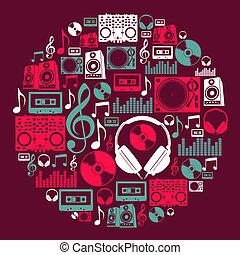 Dj Music icons circle