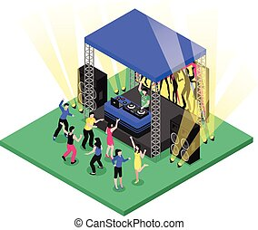 DJ Music Isometric Composition - Outdoor party festival ...