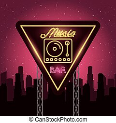 dj music player neon lights vector illustration design