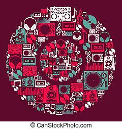 dj, muziek, iconen, schijf