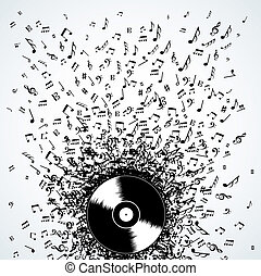 dj, notas música, respingo, registro, vinil