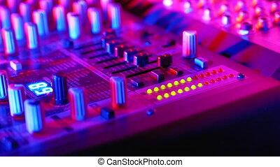 dj, ou, console, nightclub., niveau, mené, indicateur, son, fête, volume, signal, mélange