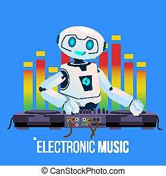 dj partido, clube, robô, ilustração, isolado, chumbos, música, vector., noturna, console misturando, eletro, tocando