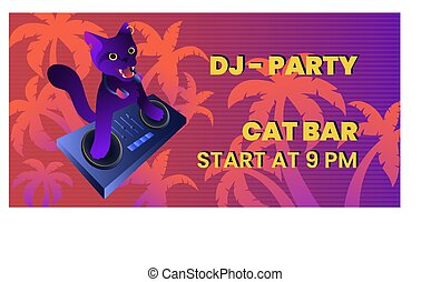 Dj-party banner template with mad cat-dj on trendy gradient background for web and printing.