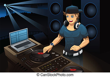 dj music a vector illustration of a music dj playing