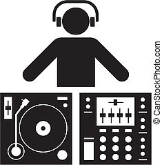 Dj pictogram - Pictogram of a DJ and a sound table