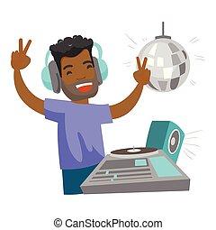 dj, plataformas giratórias, club., música, noturna, misturando