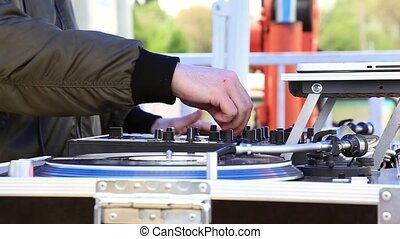 DJ Play Music, Scratching Vinyl Record On Turntable On Open...