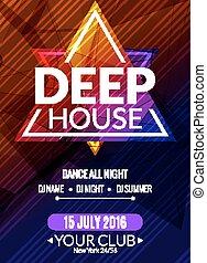 dj, poster., sound., casa randello, flyer., profondo, discoteca, trance, musica, notte, festa, musicale, elettronico, evento