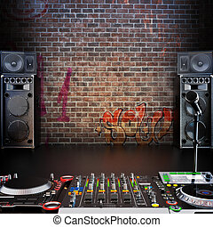 Dj R&B, Rap, Pop music background with Microphone, speakers and Dj equipment. Room for text or copy space