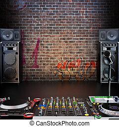 Dj R&B, Rap,Pop music background with Microphone, speakers...