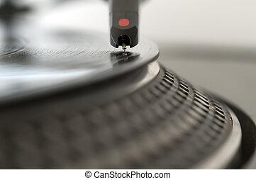 DJ Record Turntable - DJ record turntable. Macro closeup of...