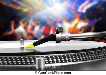 dj, registro, club, baile, plato giratorio, vinilo