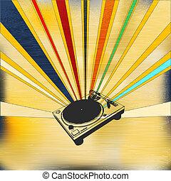 dj, rekord, däck, affisch