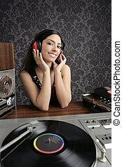 Dj retro woman vintage vinyl turntable music