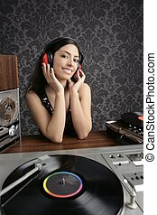 Dj retro woman vintage vinyl turntable music