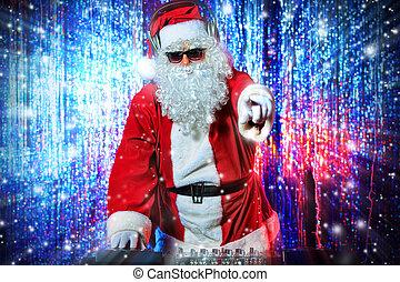 dj santa - DJ Santa Claus mixing up some Christmas cheer. ...