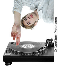 DJ Scratching Record - Young white DJ scratches an LP music...