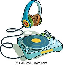 DJ set vector - turntable and headphone drawing cartoon...