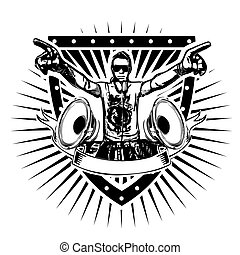 dj shield - disc jockey vector illustration on shield