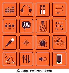 dj, sonido, y, música, plano, iconos, conjunto