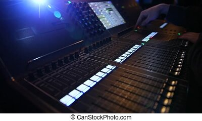 DJ sound control console for mixing dance music dance party. Close up