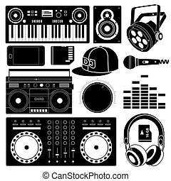 DJ sound equipment black icons