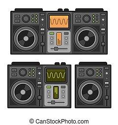 Dj Sound Mixer Set. Flat Design Style. Vector