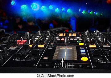 DJ stand in the club glow