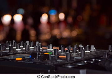 DJ stand in the club glow
