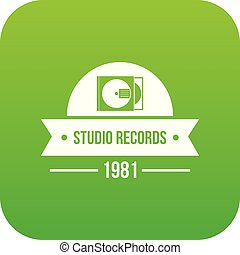 Dj studio icon green vector
