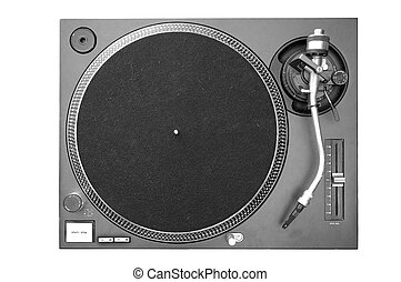 A above view of a DJ turntable.