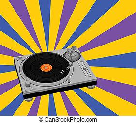 DJ turntable - Vector illustration of DJ turntable on...