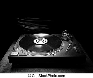DJ Turntable in the Dark - Single DJ turntable record player...