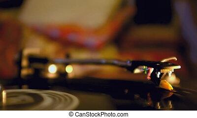 Dj Vinyl Record Spinning On Turntab