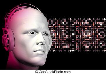 dj with headphones - Nightclub dj with headphones and...