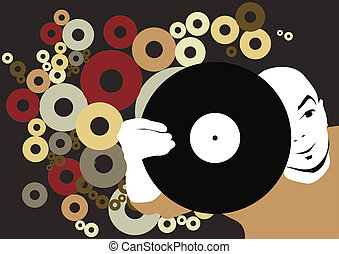 DJ with record - place your design here(great for your art...