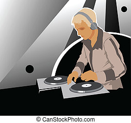 DJ with sound equipment