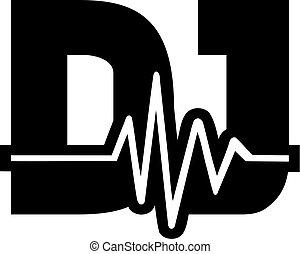 DJ word with soundwave