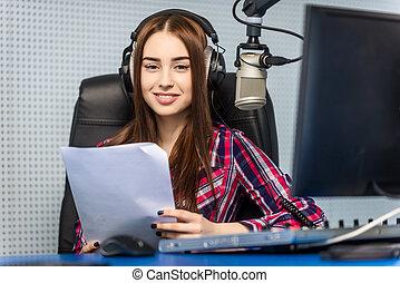 dj working on the radio