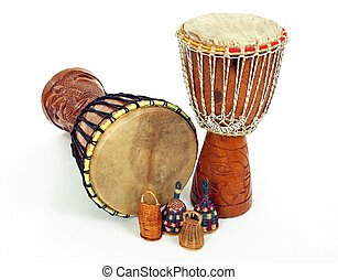 Djembe drums and caxixi shakers - African djembe drums and...