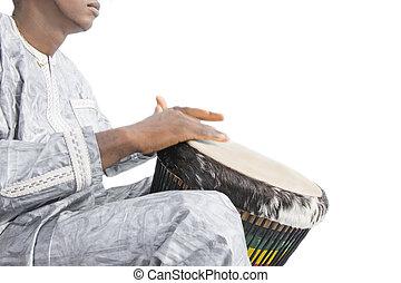 djembe, gracz, tradycyjny, część garderoby