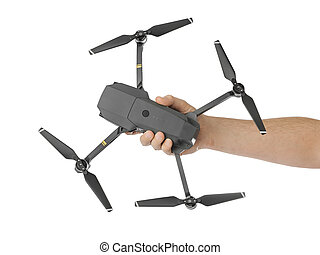 DJI Mavic Pro drone: Moscow, Russia - September 24, 2017. Quadcopter drone in hand isolated on white background
