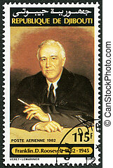DJIBOUTI - 1982: shows Franklin D. Roosevelt (1882-1945) -...