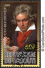 DJIBOUTI - 2009: shows Ludwig van Beethoven (1770-1827), compose