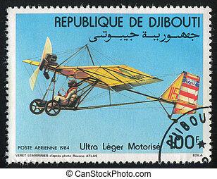 Motorized Hang Gliders - DJIBOUTI - CIRCA 1984: stamp...