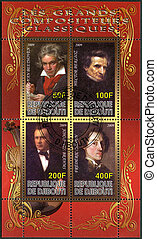 DJIBOUTI - CIRCA 2009: A stamp printed in Republic of Djibouti shows Ludwig van Beethoven (1770-1827), Johannes Brahms (1833-1897), Hector Berlioz (1803-1869) and Franz Liszt (1811-1886), circa 2009
