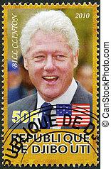 DJIBOUTI - CIRCA 2010: A stamp printed in Republic of Djibouti shows Bill Clinton, the 42nd President of the United States, circa 2010